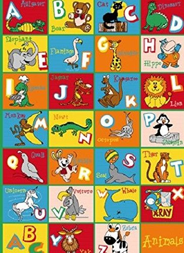 Kids Children Alphabet Animal 3 X 5 Educational Gel Rug by Persian Rugs
