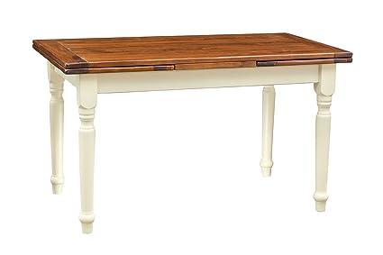 Tavolo allungabile in legno massello di tiglio - Stile Country - Struttura  bianca anticata piano noce 140x80x80 cm