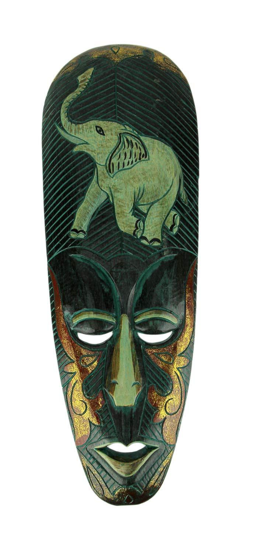 Things2Die4 Hand Carved Wood Indonesian Lombok Wall Mask Elephant Design by Things2Die4