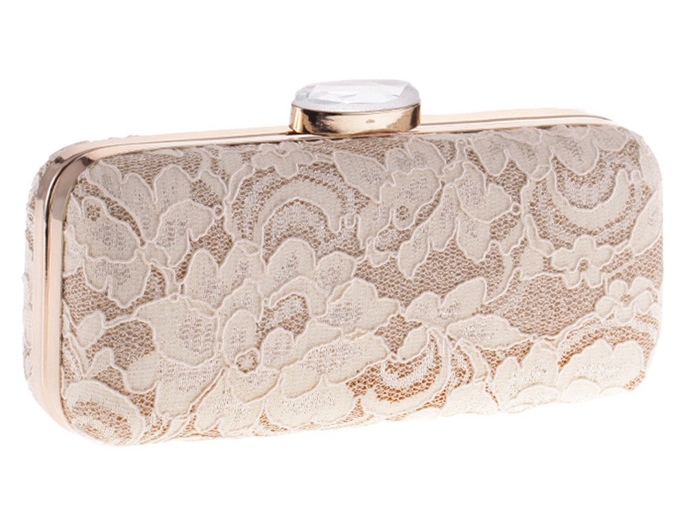 Women's Floral Lace Cover Evening Bag Chain Prom Bridal Clutch Vintage Style(Nude)