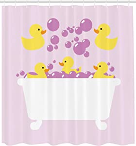 Abaysto Duckies Abstract Floating Yellow Rubber Ducks with Purple Bubbles in a Tub Design Lilac Purple Yellow Bathroom Decor Shower Curtain Sets with Hooks Polyester Fabric Great Gift