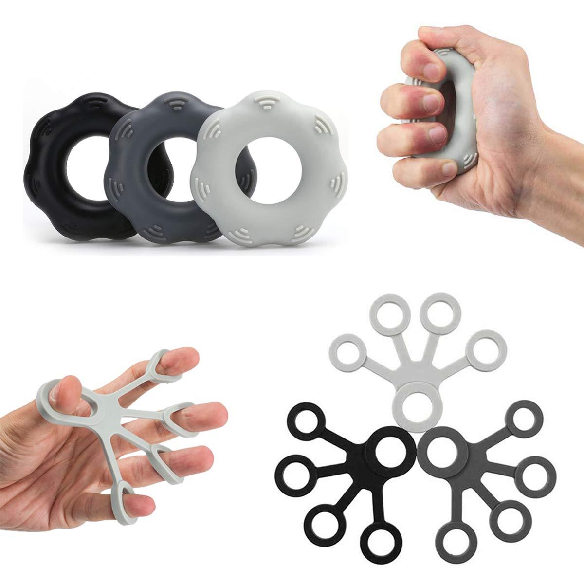 Doufit Upgraded Finger Strengthener Grip Resistance Bands, Finger Stretcher, Grip Strength Trainer Ring, Finger Extensor, Silicone Hand Exerciser Set 6 Pcs