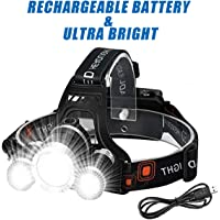 Wesho LED Head torch Rechargeable headlight with 3 Lights 4 Modes, 6000 Lumen Super Bright LED Head Lamp, Hands-free flashlight Head Torch for Running, Camping, Fishing, Cycling, Hiking, Waterproof