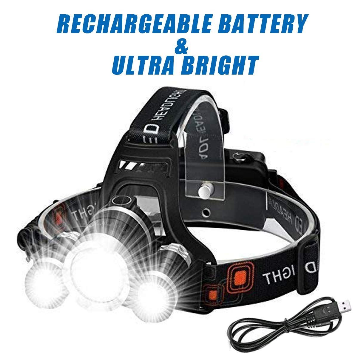 6000 Lumen Wesho Wiederaufladbare Stirnlampe mit 3 Leuchten Angeln Wandern 4 Modi Camping superhelle LED-Lampe Radfahren Freisprech-Taschenlampe f/ür Laufen wasserdicht