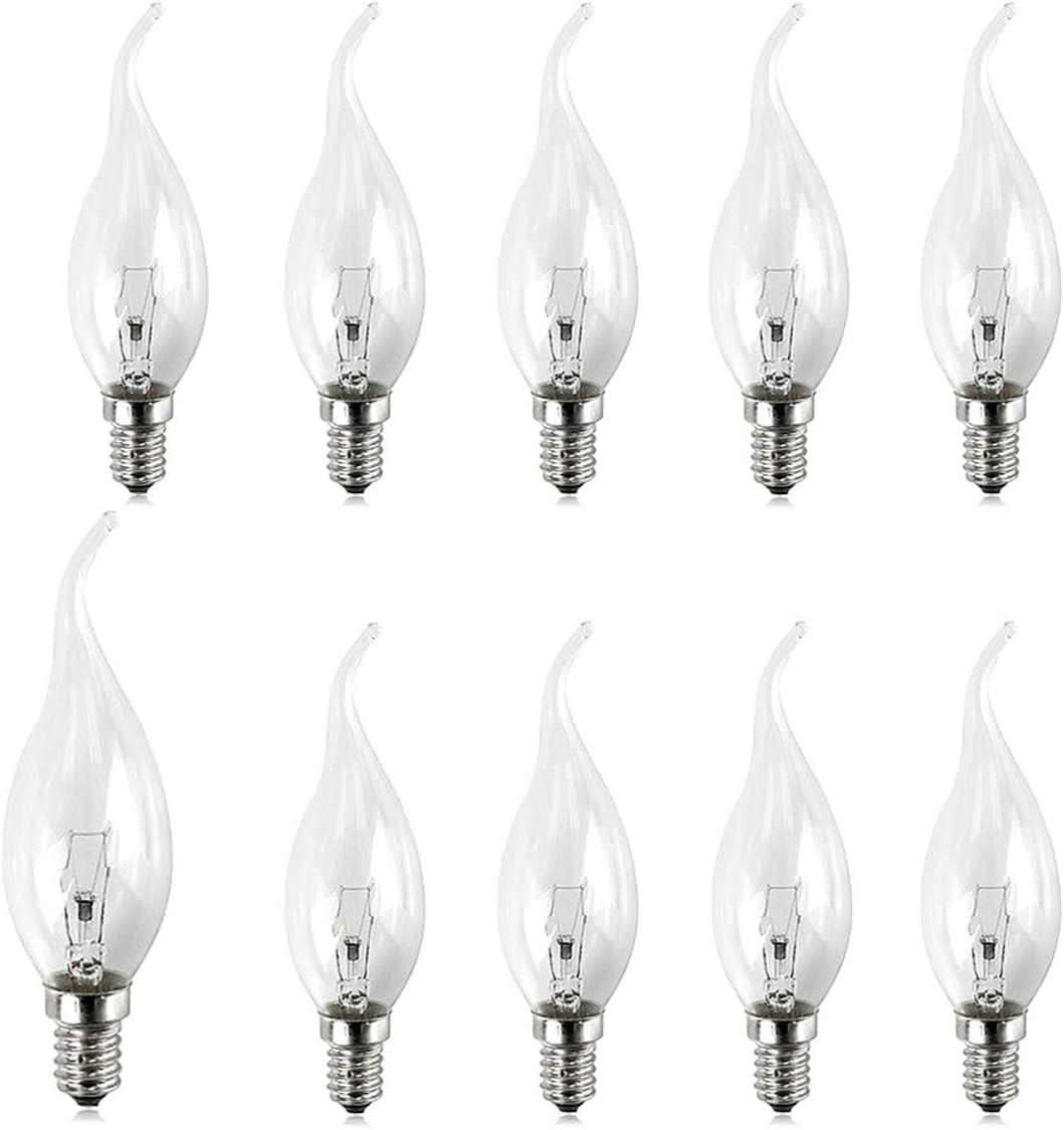 40w Watt Candle Bulbs SES E14 Clear Candle Small Edison Screw in Bulbs x 10