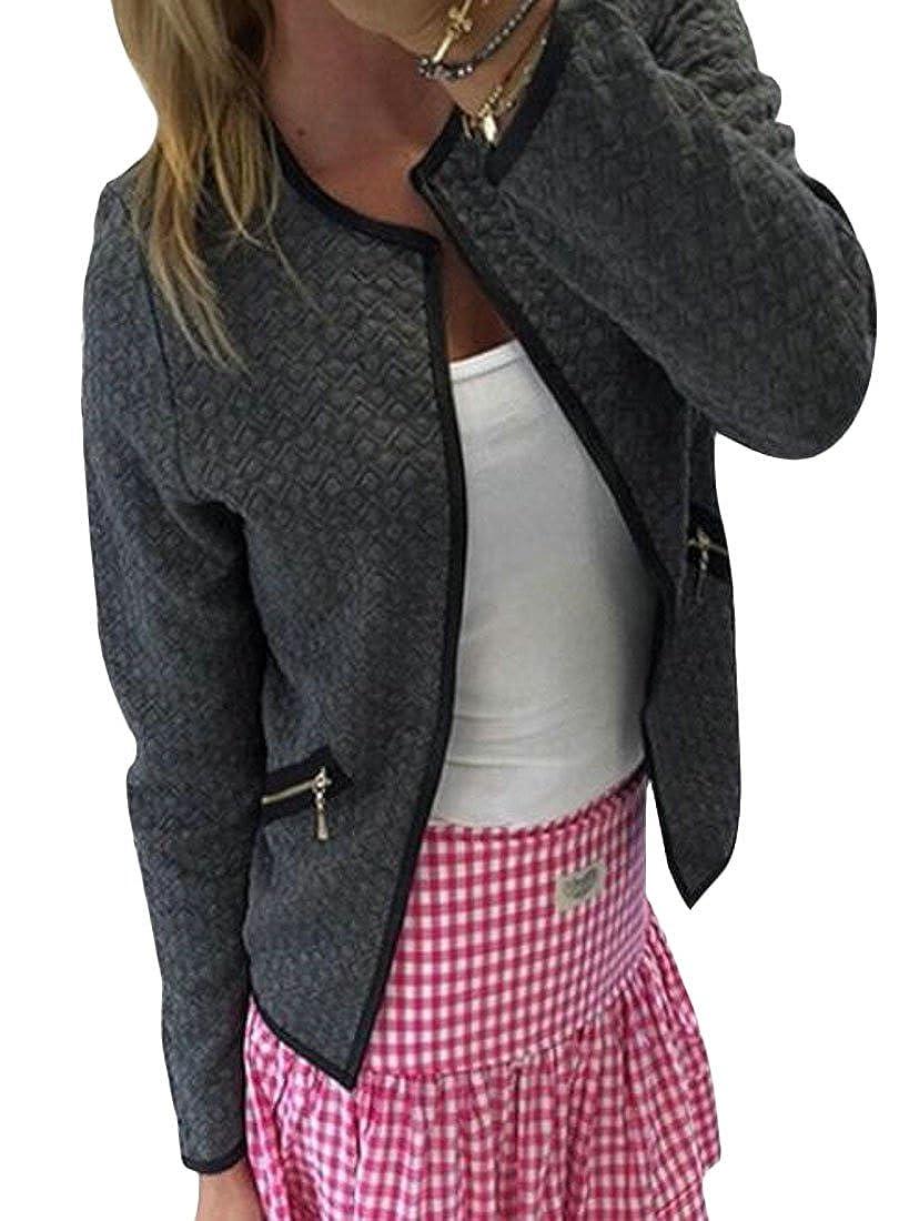 Cromoncent Womens Full-Zipper Fall/Winter Chic Coat Slim Contrast Short Jacket