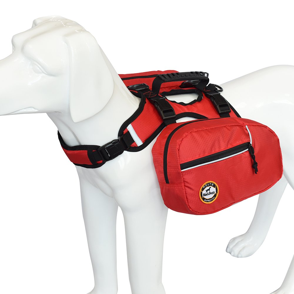 Dog Backpack Bagpacks Pets Harness Reflective Safety Adjustable Saddlebag Outdoor Hiking Travel Accessories with 2 Removable Packs for Large Dog Carry Products Red (S) PetsKing