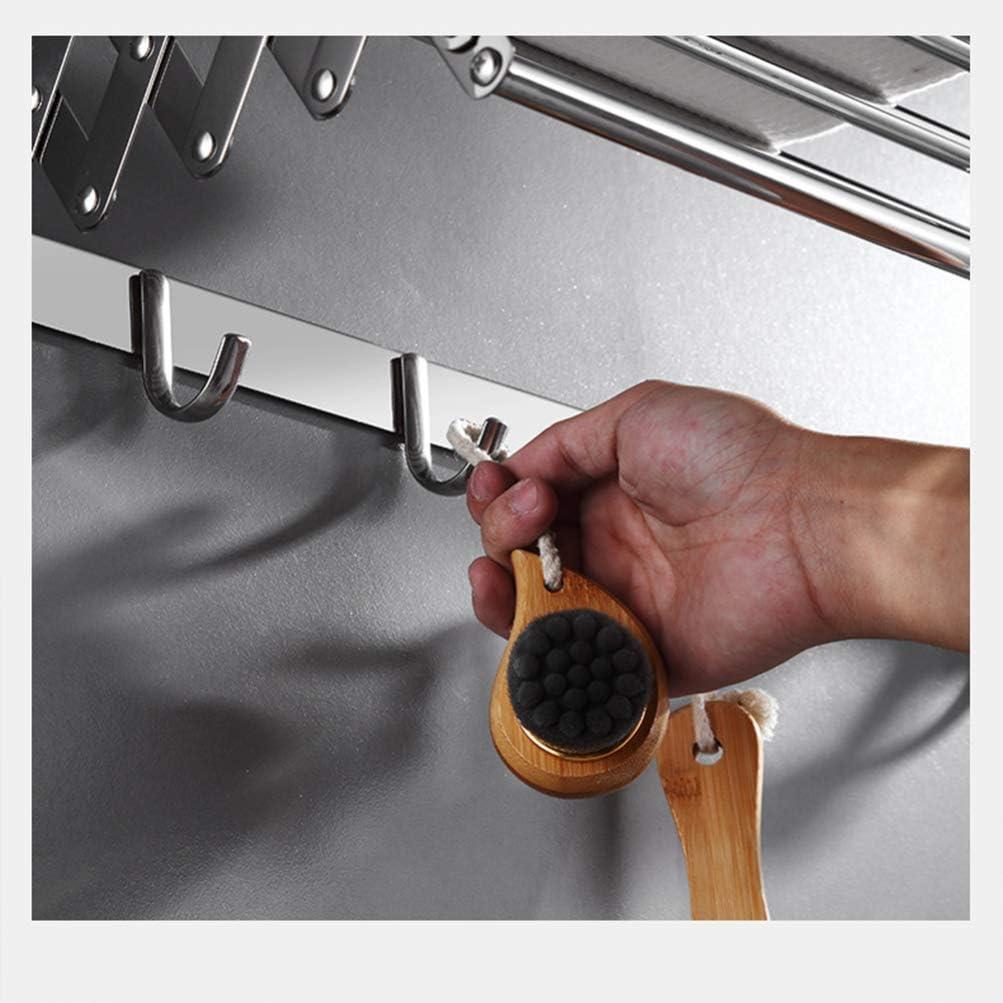 NICEXMAS 50 Cm Extensible Ba/ño Toallero de Montaje en Pared Estante de Ropa con Gancho Colgador de Pared de Acero Inoxidable Art/ículos Diversos Organizador de Toallas de Ropa