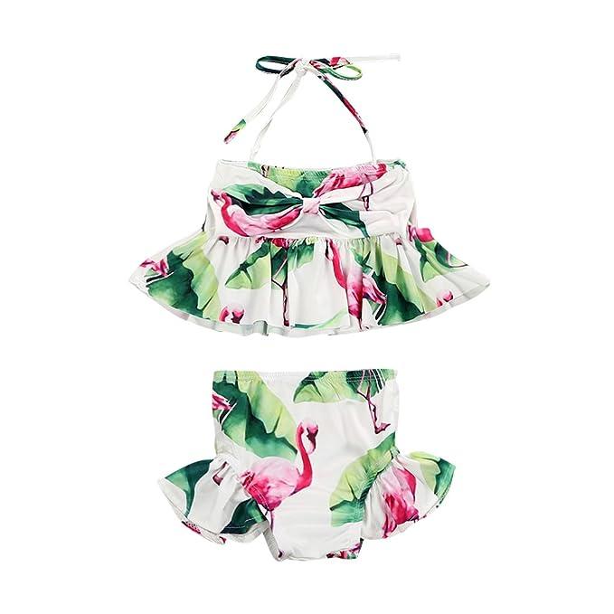 20b35a9ef6 Toddler Kids Baby Girl Flamingo Swimsuits Floral Halter Bathing Suit 2pcs  Bikini Set Tankini Swimwear Costume