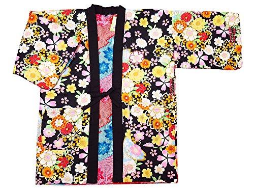 【벚꽃 열거・검정】 일본 무늬면 들어감 반(半)고지 않겠 리버시블 여성용 프리 사이즈