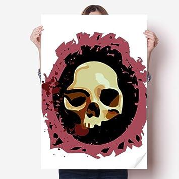 Realistic Round Skull Halloween Vinyl Wall Sticker Poster Mural Wallpaper Room Decal 80X55cm