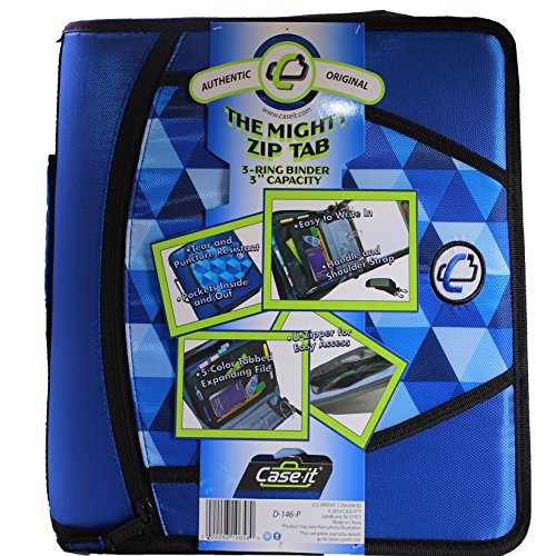 Case-it Mighty Zip Tab 3-Inch Zipper Binder, Printed Blue, Design may vary (Camouflage or (Digital Design Portfolio Cd)
