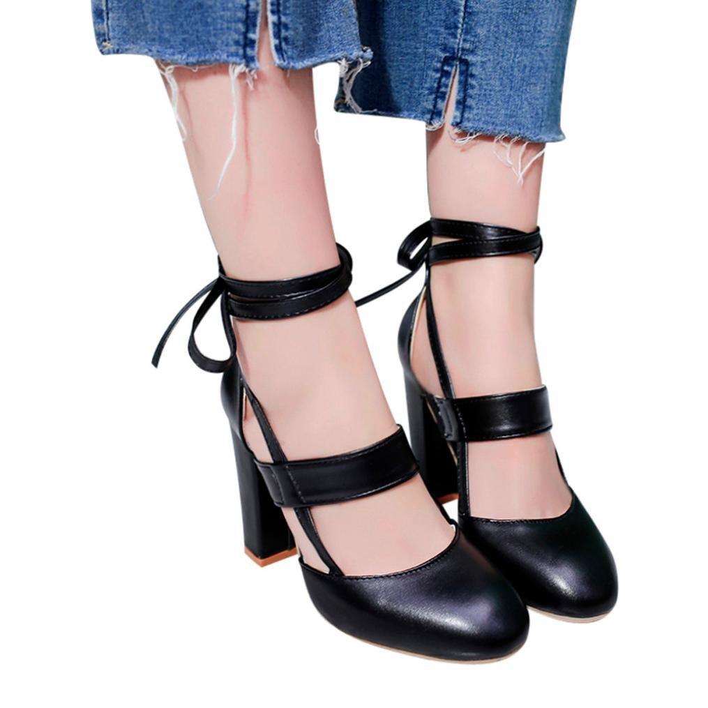 LtrottedJ Women's Fashion Heeled Sandals Ankle Strap Dress Sandals for Party Wedding (36, Black)