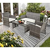4-Piece Patio Wicker Sectional Furniture Set-Outdoor Rattan Sofa Conversation Set with Coffee Table by Captiva Designs