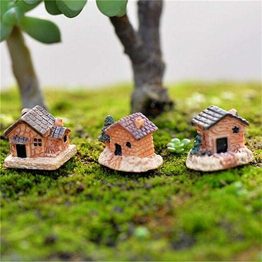 NOMIMAS 3 Piezas DIY Micro Hadas jardín Figuras Kawaii Madera Junta Casa Miniaturas/Terrario muñeca casa decoración/suculentas Adornos al Azar: Amazon.es: Hogar