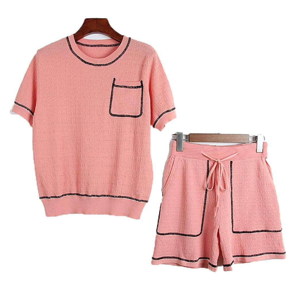 Pink 2 Pieces ShortSleeved Shirt Lacing Shorts,Women TShirt Set Tops and Shorts Casual Wear,SinglePocket Design,Multicolor Optional,WhiteL