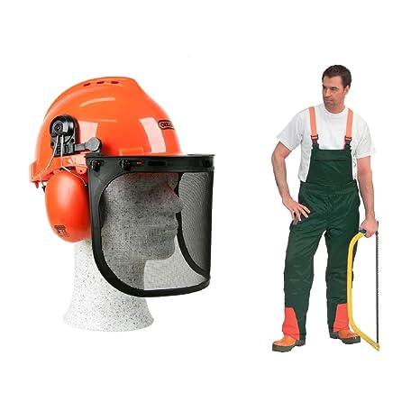 Protección contra cortes, casco para bosque y pantalones de peto con protección, 62, verde naranja, 1