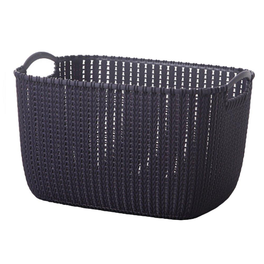 jinbestプラスチックrattan-weavedストレージバスケット洗面所のランドリーHousehold Sundries服おもちゃオーガナイザーキッチンテーブルトップスナックストレージ S B078TC1XN7 ダークパープル Small