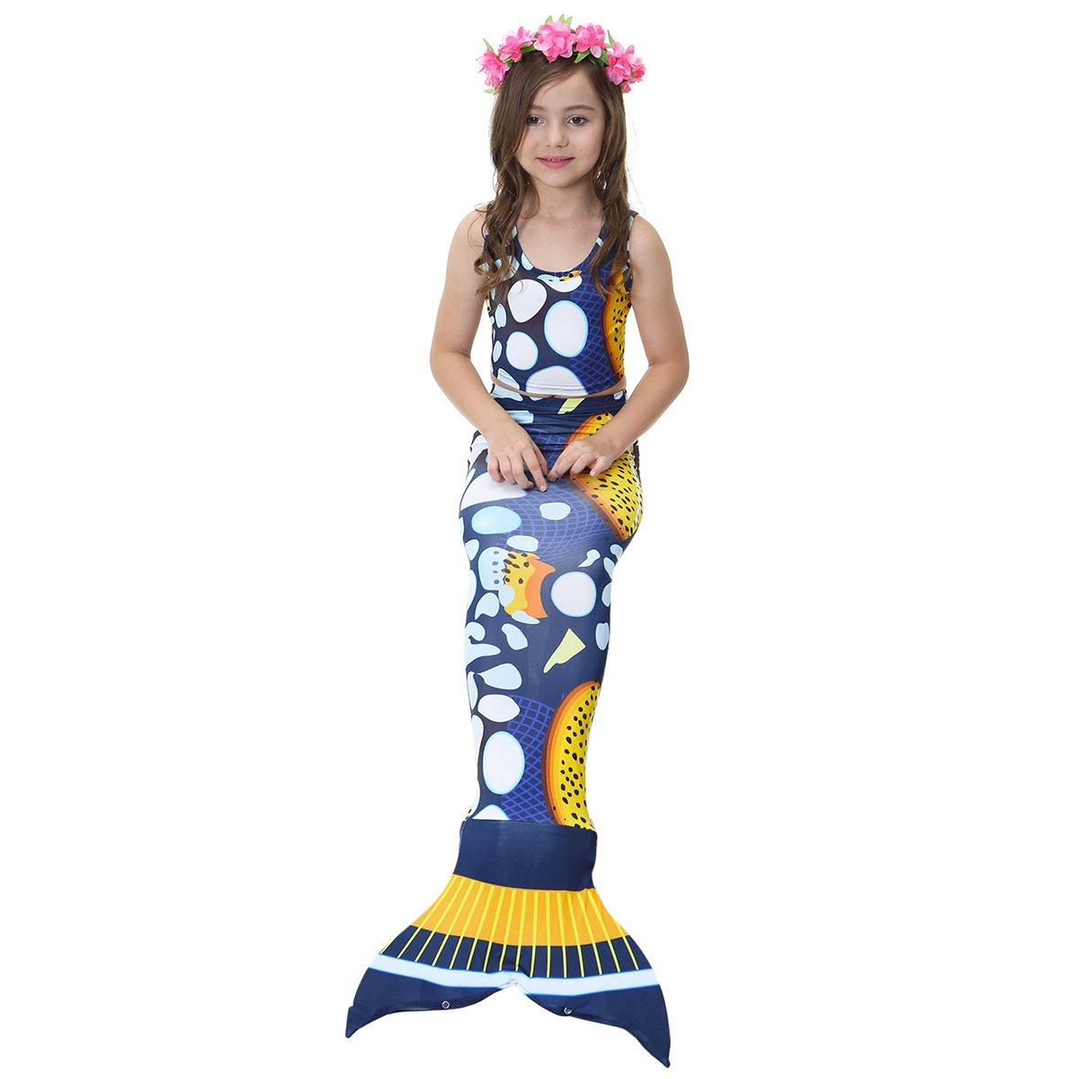 Purple AiMiNa 3pcs Swimmable Mermaid Tail for Kids Girls Princess Bikini Set Swimsuit Swimwear Set for 4-12 Years
