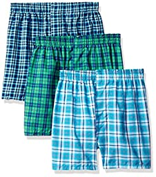 Fruit of the Loom Big Boys\' Tartan Woven Boxer ,Multi,L (14-16)