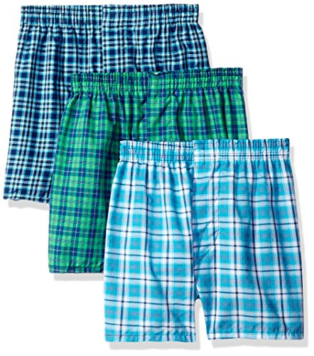 - Fruit of the Loom Boys 8-20 Tartan Woven Boxer ,Multi,S (6-8)(Pack of 3)