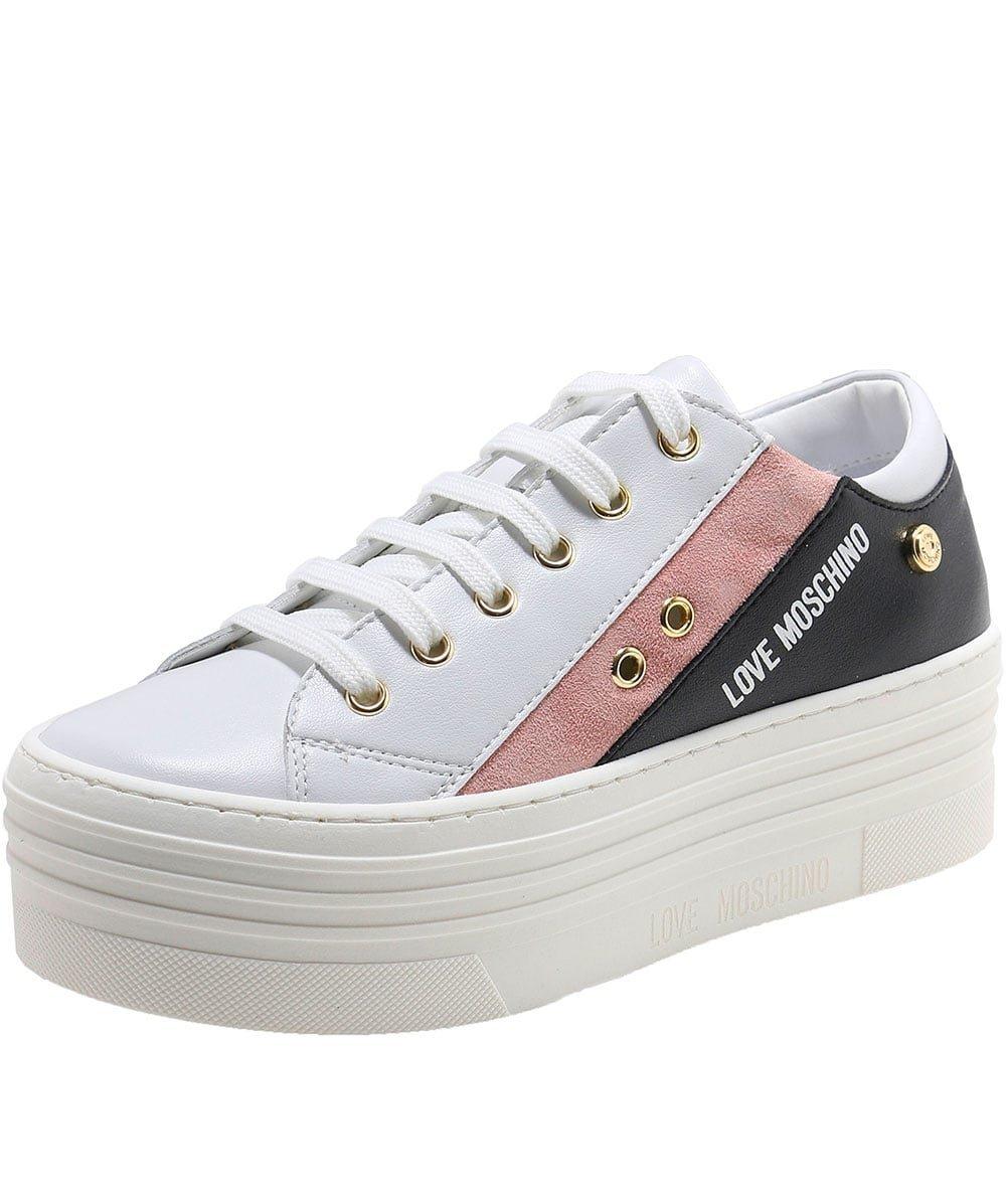 Love Moschino Women's Platform Sneakers White/Pink/Black 40 M EU