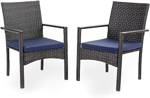 PHI VILLA Patio Wicker Chair Set of 2