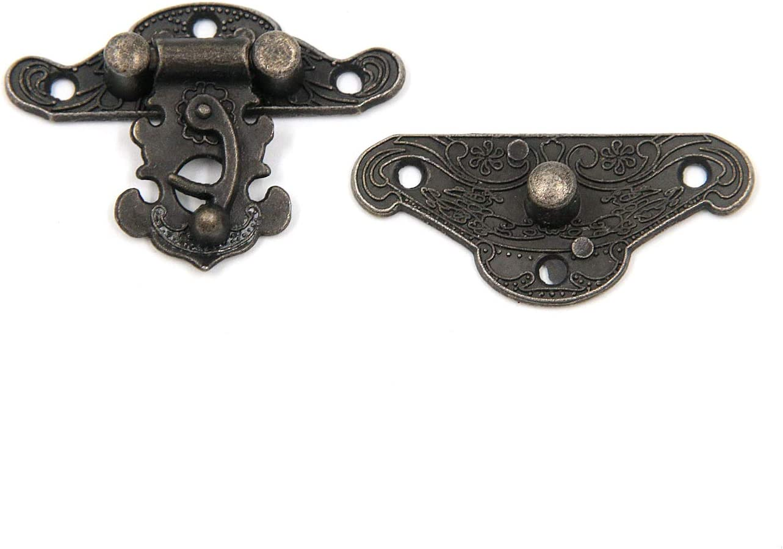 with Mounting Screws 1.5 Zinc Alloy Geesatis 10 pcs Box Latch Antique Embossed Buckle Lock Decorative Wood Case Jewelry Box Buckle Bronze