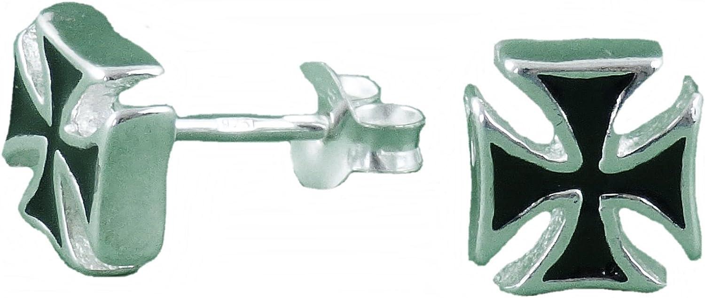 Iron Cross Ohrstecker 1 Paar 2 Stück Ohrringe Silber 925 Eisernes Kreuz