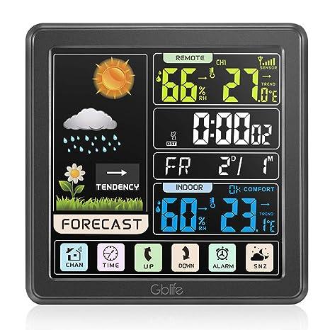 GBlife Estación Meteorológica Inalámbrica con Pantalla a Color, Alarmas, Pronóstico del Tiempo, Alertas de Temperatura, Monitor de Humedad, Reloj de ...