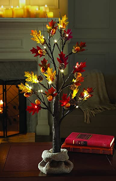 Harvest Fall Tree with with Acorns and LED lights. #falldecorating