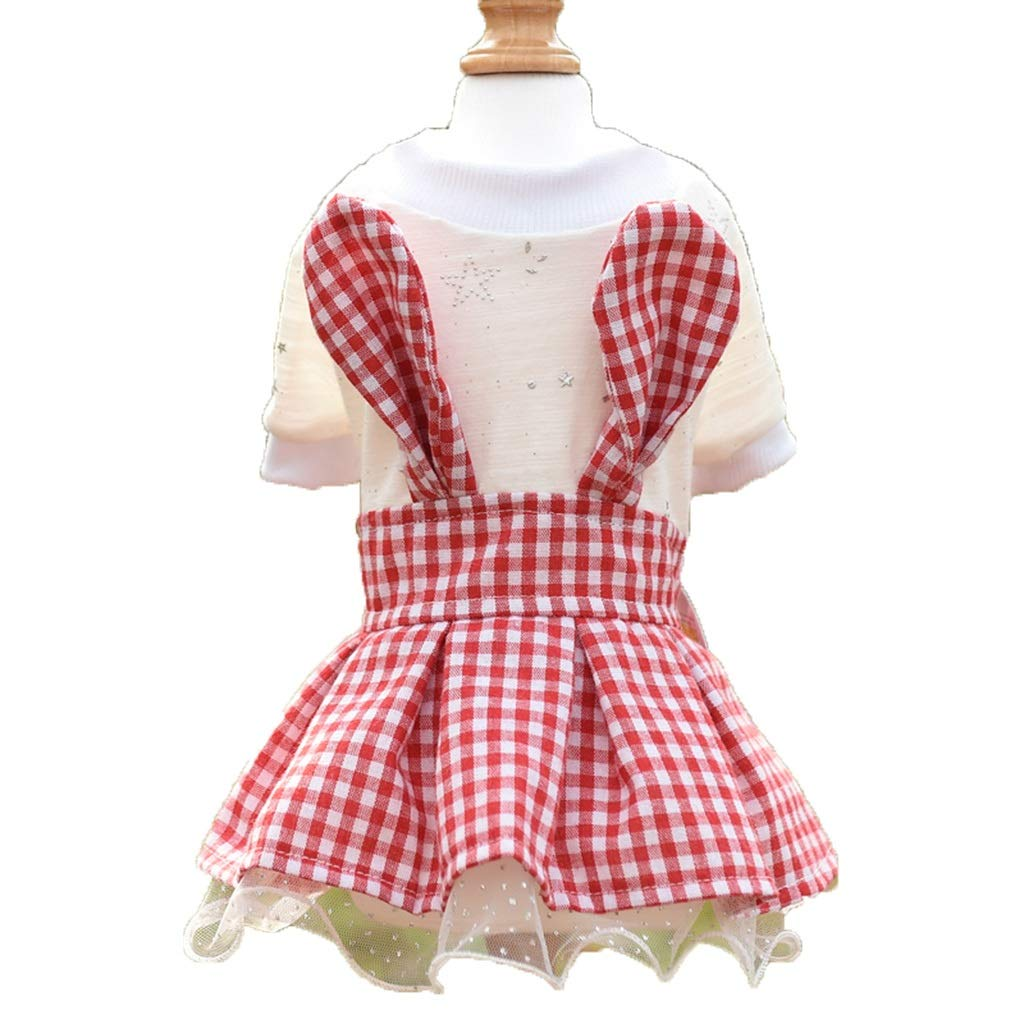 Red S Red S QLMS Net red Dog Clothes Spring Teddy Bear Small Dog VIP pet Summer Plaid Princess Skirt Thin Section (color   Red, Size   S)