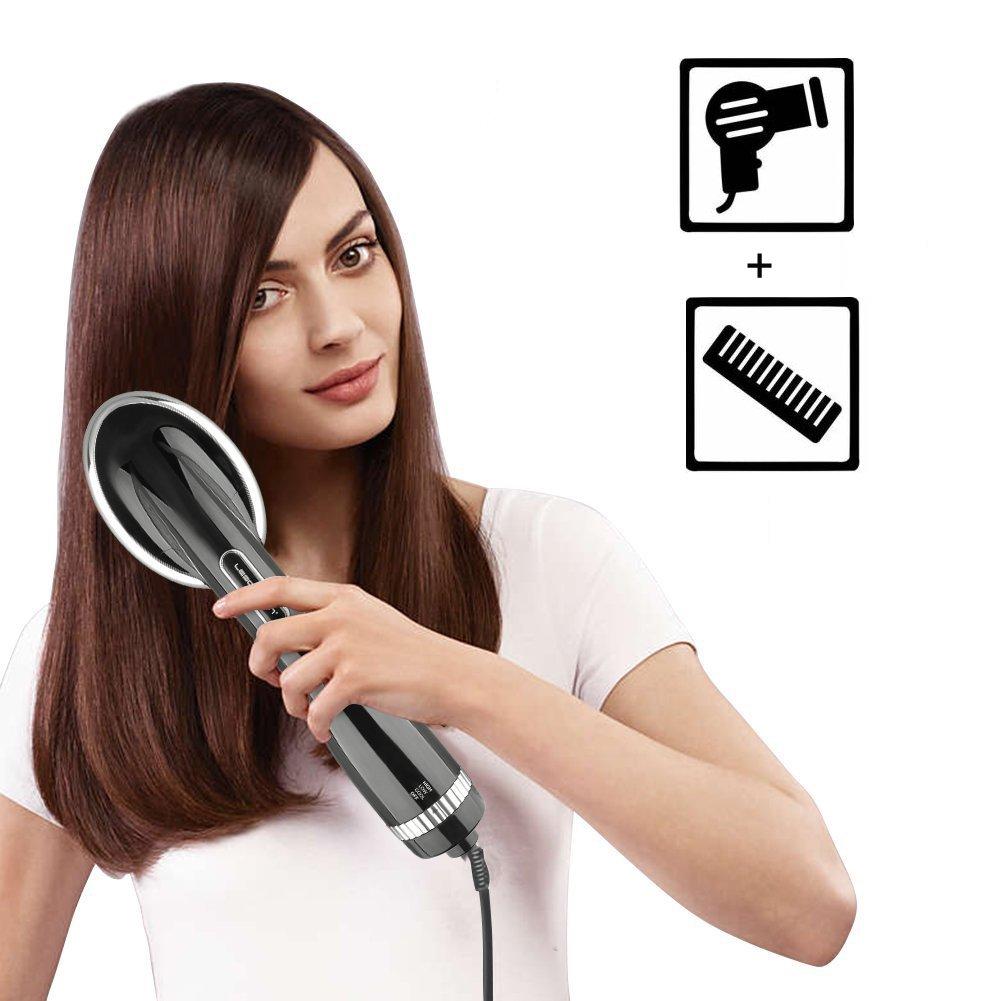 Yunshangauto Brosse à Lisser les Cheveux Électrique / Brosse Lissante Cheveux / Brosse à Air Chaud en Fer Brosse Sèche-cheveux avec Fonction de Séche et Lisse Noir product image