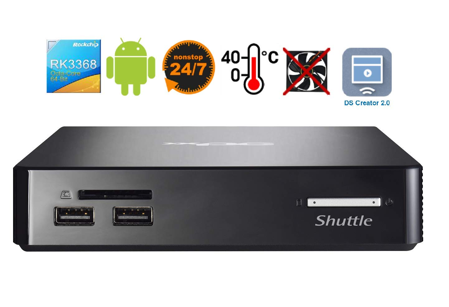 Shuttle XPC Nano NS02A Digital Signage Solution with Pre-Installed Digital Signage Software - DS Creator, 2GB DDR3L RAM, 16GB eMMC Storage, Android 8.1