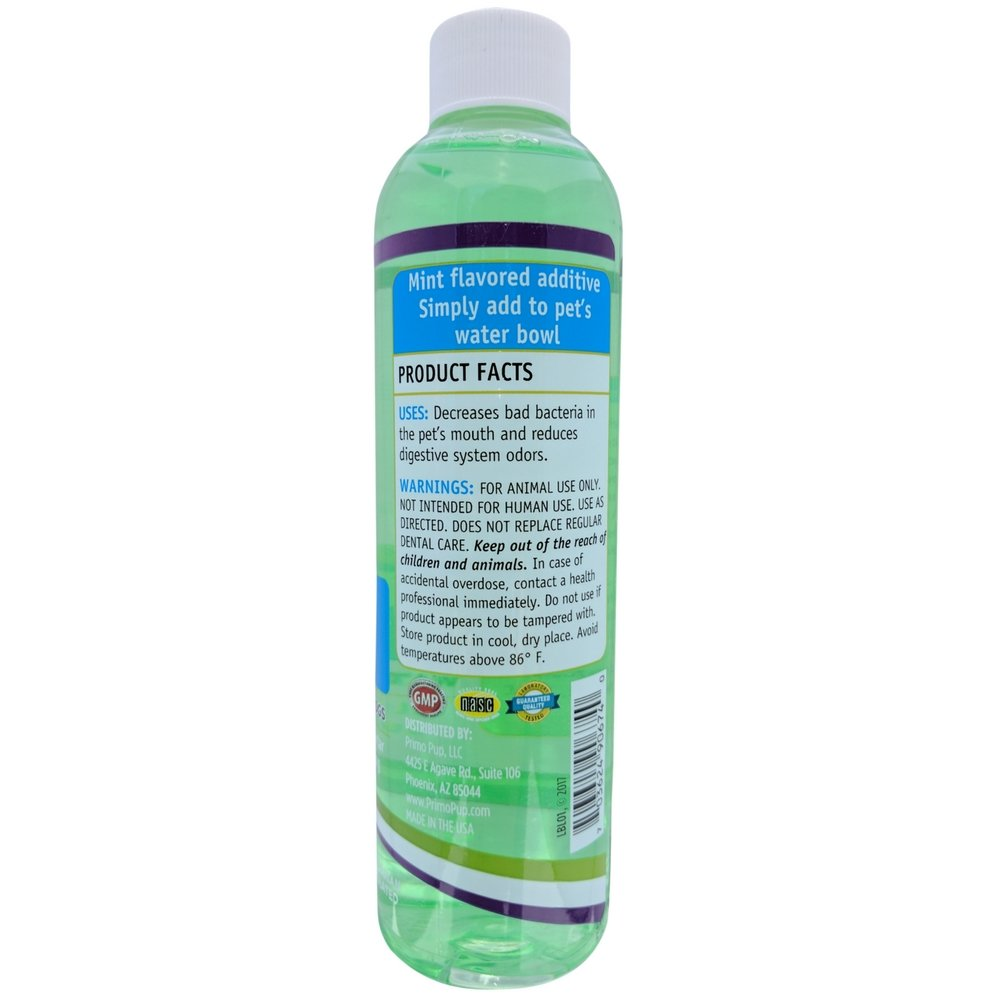 Primo Pup Vet Health - Dental Fresh Water Additive - All Dog Formula with Peppermint Oil - Veterinarian Formula Reduces Plaque & Tartar, Freshens Breath, Reduces Bacteria in Mouth - 8 fl oz by Primo Pup (Image #2)