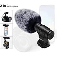 PLOTURE Super-Cardioid Camera Microphone with Deadcat Windscreen and Earphone Monitor Hole Works