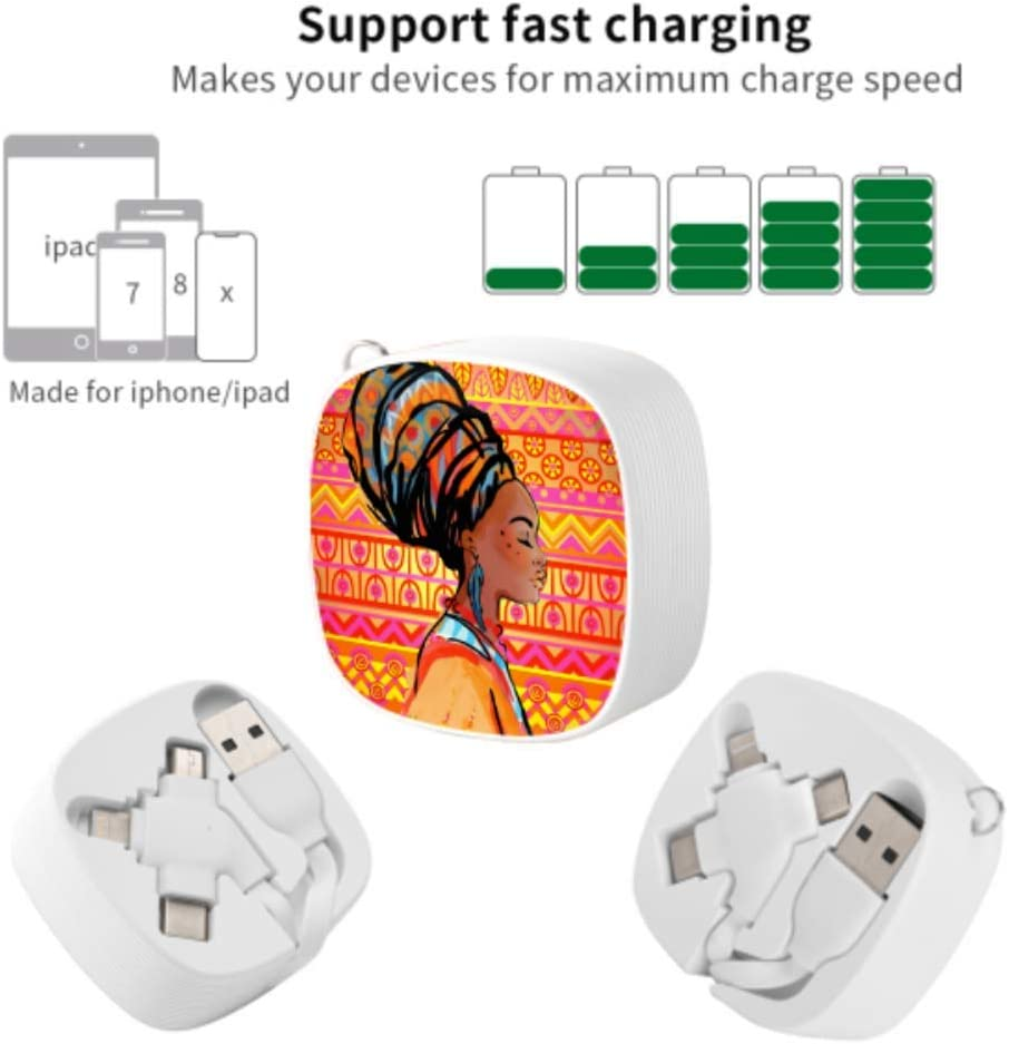 USB Lightning Cable African Beautiful Drawn Woman Portrait Multi 3 in 1 Retractable Quick Charge Multi Cable with Micro USB//Type C Compatible with Cell Phones Tablets and More