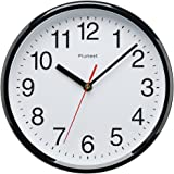 "Plumeet Kids Wall Clock, 10"" Silent Non Ticking Quality Quartz Black Wall Clock Decorative Home/Kitchen/Office/School Clock, Easy to Read, Battery Operated (Black)"