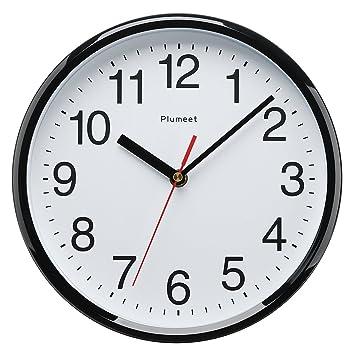 Plumeet 255 mm Reloj Negro de Cuarzo de Pared silencioso, Decorativo para el hogar/la Cocina/la Oficina/la Escuela, fácil Leer y con Pilas (Negro): ...