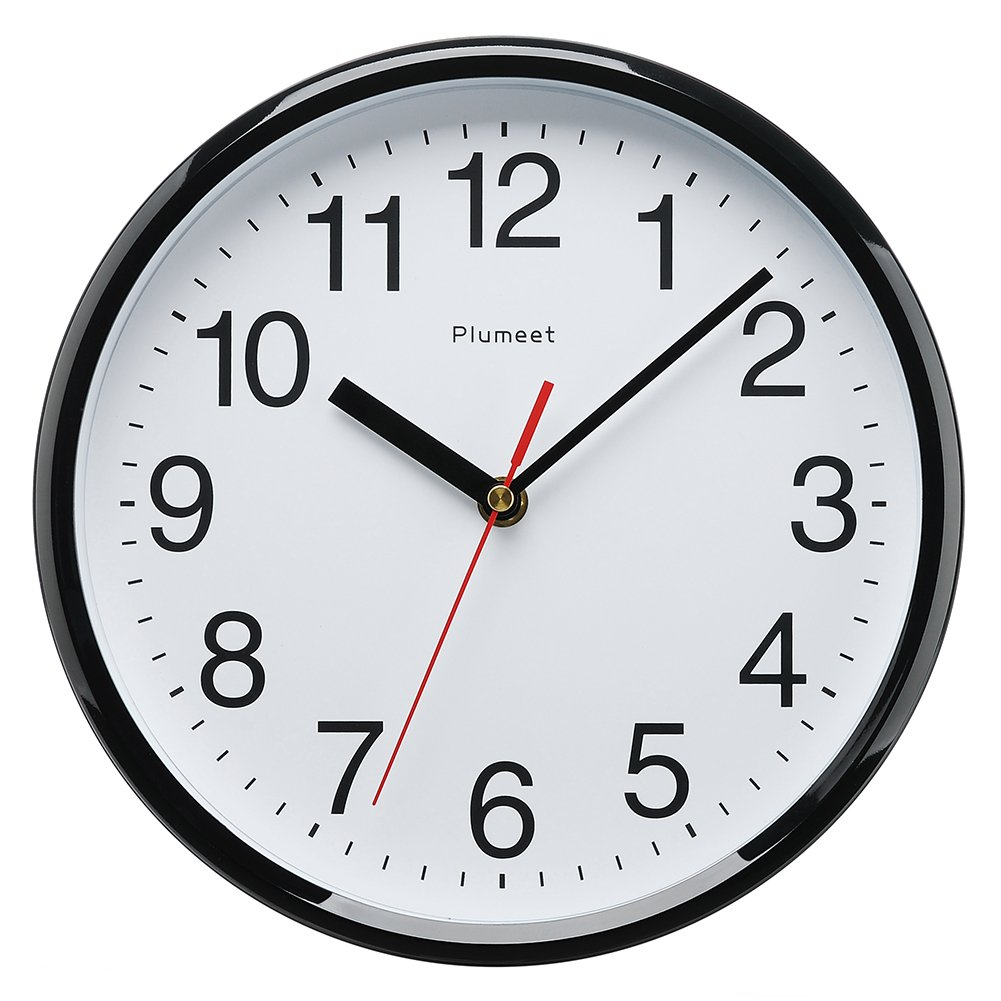 Plumeet Kids Wall Clock, 10'' Silent Non Ticking Quality Quartz Black Wall Clock Decorative Home/Kitchen/Office/School Clock, Easy to Read, Battery Operated (Black)