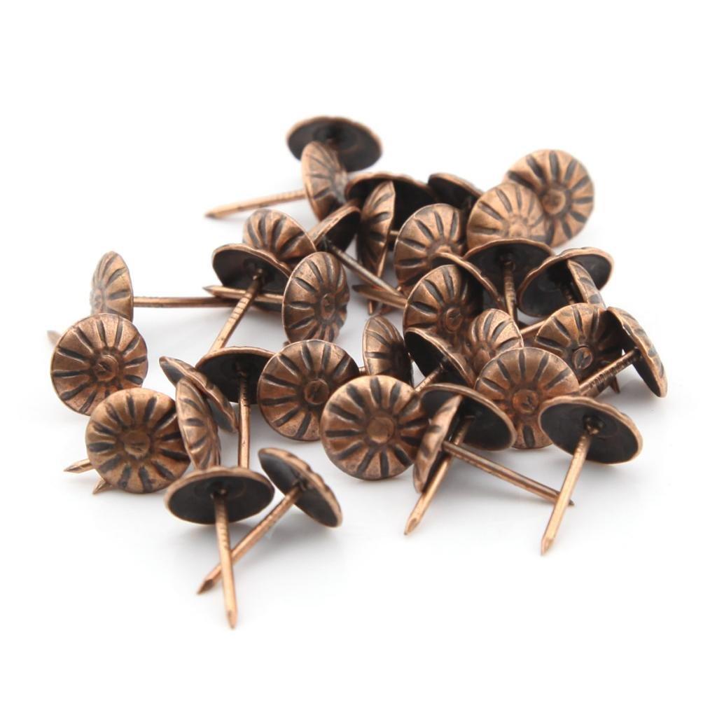 100pcs 11 mmx16 mm rojo bronce Chrysanthemum clavos Pushpin doornail chinchetas Deco Tack tapicerí a tambor de uñ as uñ as Thumbtack Owfeel(TM)