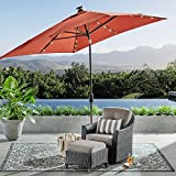 SUNBRELLA Outdoor Adjustable Tilt 8′ x 10′ Solar Lighted Market Umbrella (Canvas Cajun)