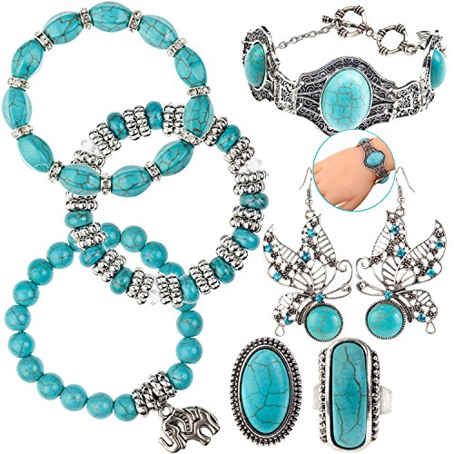 7pcs Anti Silver Jewelry Set / Kit / Lot of Womens Ladies Girls Fashion Bracelets / Bangles / Wristbands, Hooks Earrings / Dangles and Finger Rings With Turquoise Stones / Pearls / Beads
