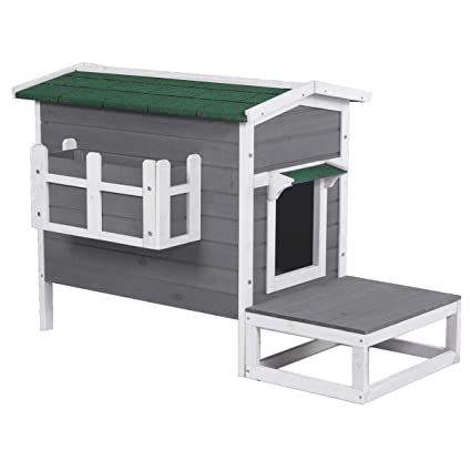 Good Life Weatherproof Outdoor Wood Cat House Pet Home Furniture Cat Shelter Small Dog Condo Gray & White Color With Stairs For Cat And Small Dog Pet500 by Good Life Usa