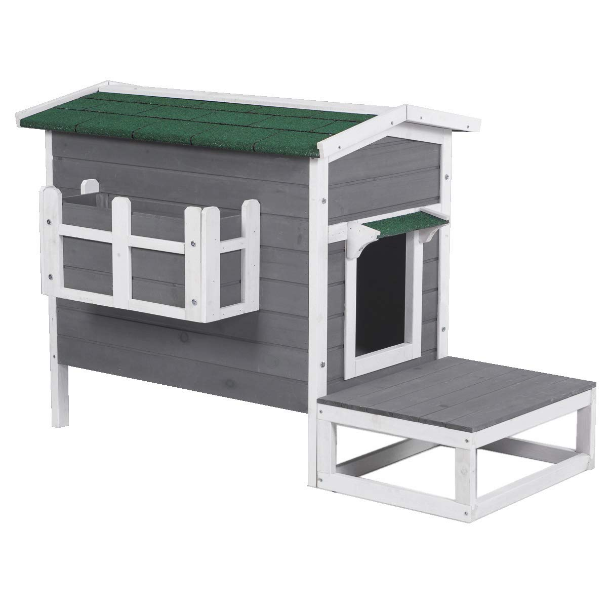 Good Life Weatherproof Outdoor Wood Cat House Pet Home Furniture Cat Shelter Small Dog Condo Gray & White Color with Stairs for Cat and Small Dog PET500