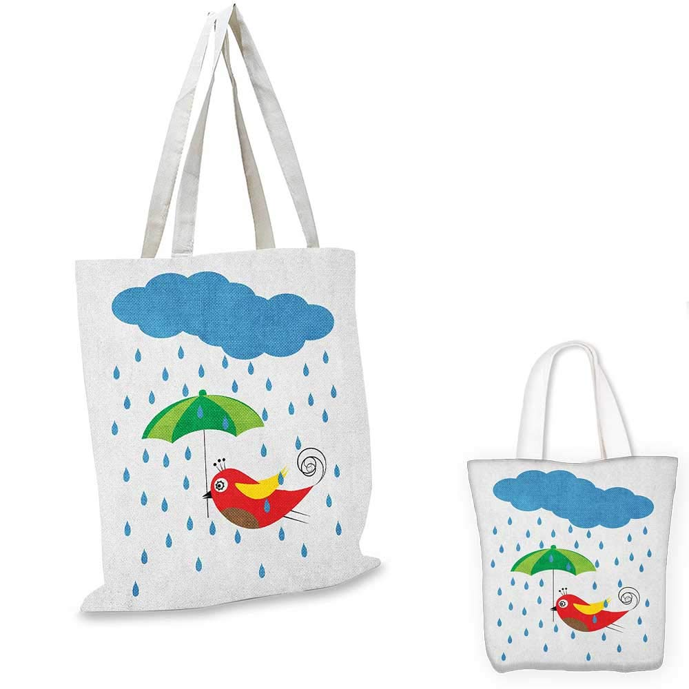 Colorful canvas messenger bag Cartoon Style Nature Depiction with Abstract Flowers and Leaves Childrens Drawing canvas beach bag Multicolor 12x15-10