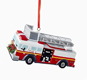 Kurt Adler Fire Truck with Wreath Ornament