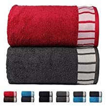 Trident His & Her 550 GSM 2 Pack Cotton Bath Towel Set - Red & Grey