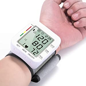 Digital Wrist Blood Pressure Monitors 120 Reading Memory Clinically Accurate & Adjustable BP Wrist Cuff with Carrying Case and Large LCD Display