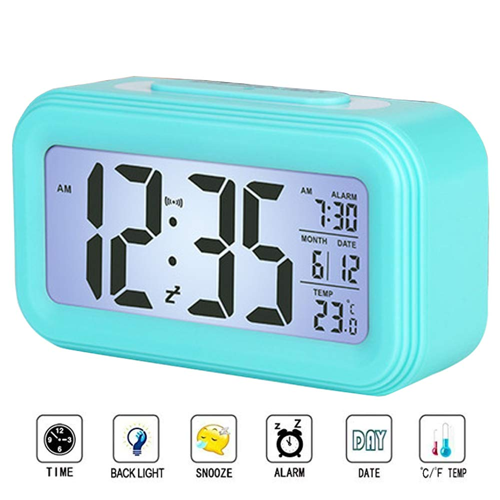 I2USHOP Alarm Clock Battery Operated, Large LED Display Digital Alarm Clock with Calendar Temperature Snooze Backlight, Light Blue